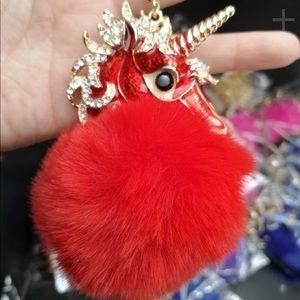 Red Unicorn Pom Pom Purse Charm/Backpack/Keychain